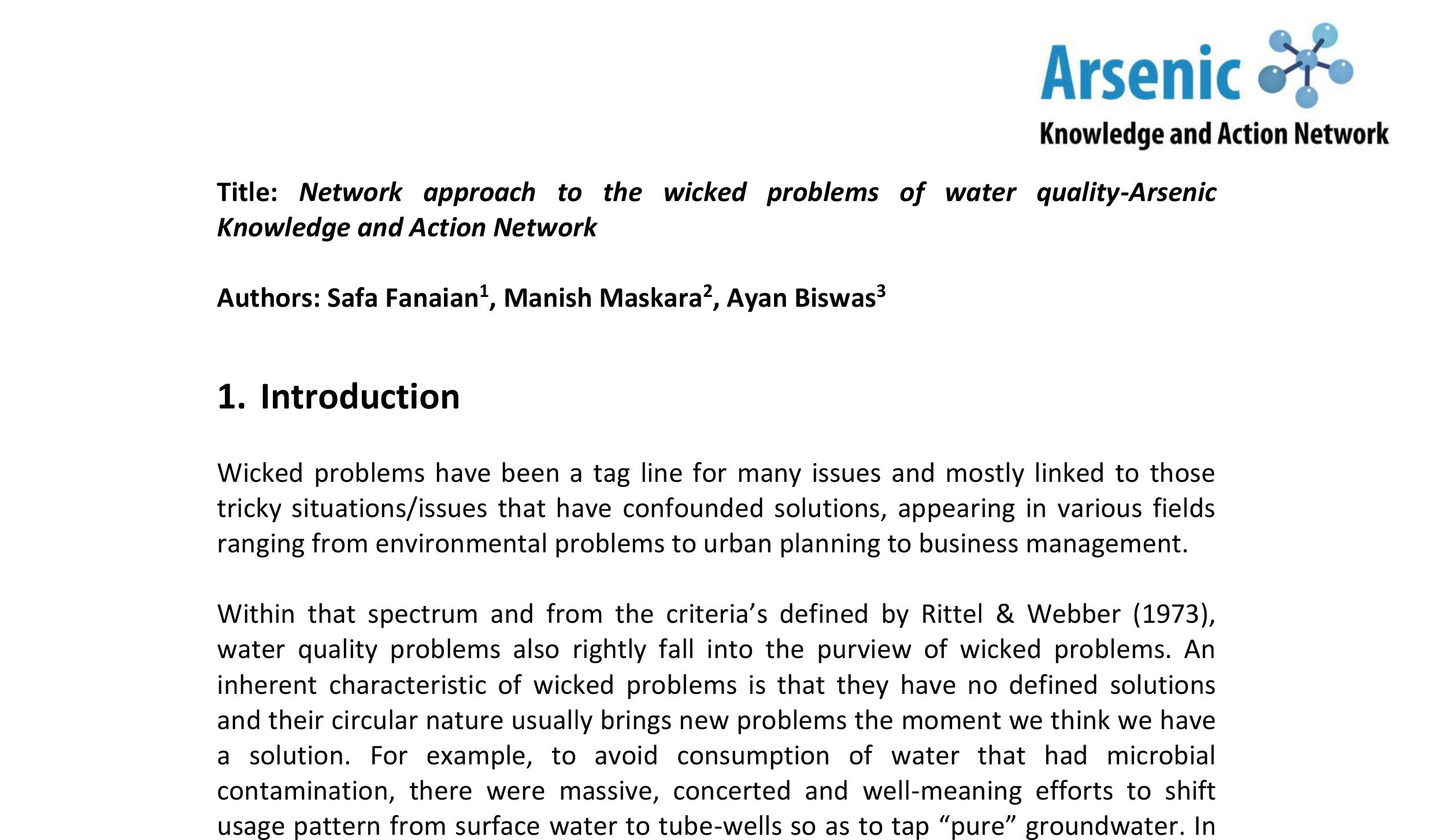 Network approach to the wicked problems of water quality-Arsenic Knowledge and Action Network