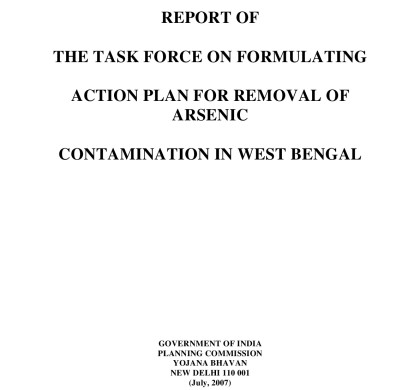 Report of The Task Force on Formulating Action Plan for Removal of Arsenic Contamination