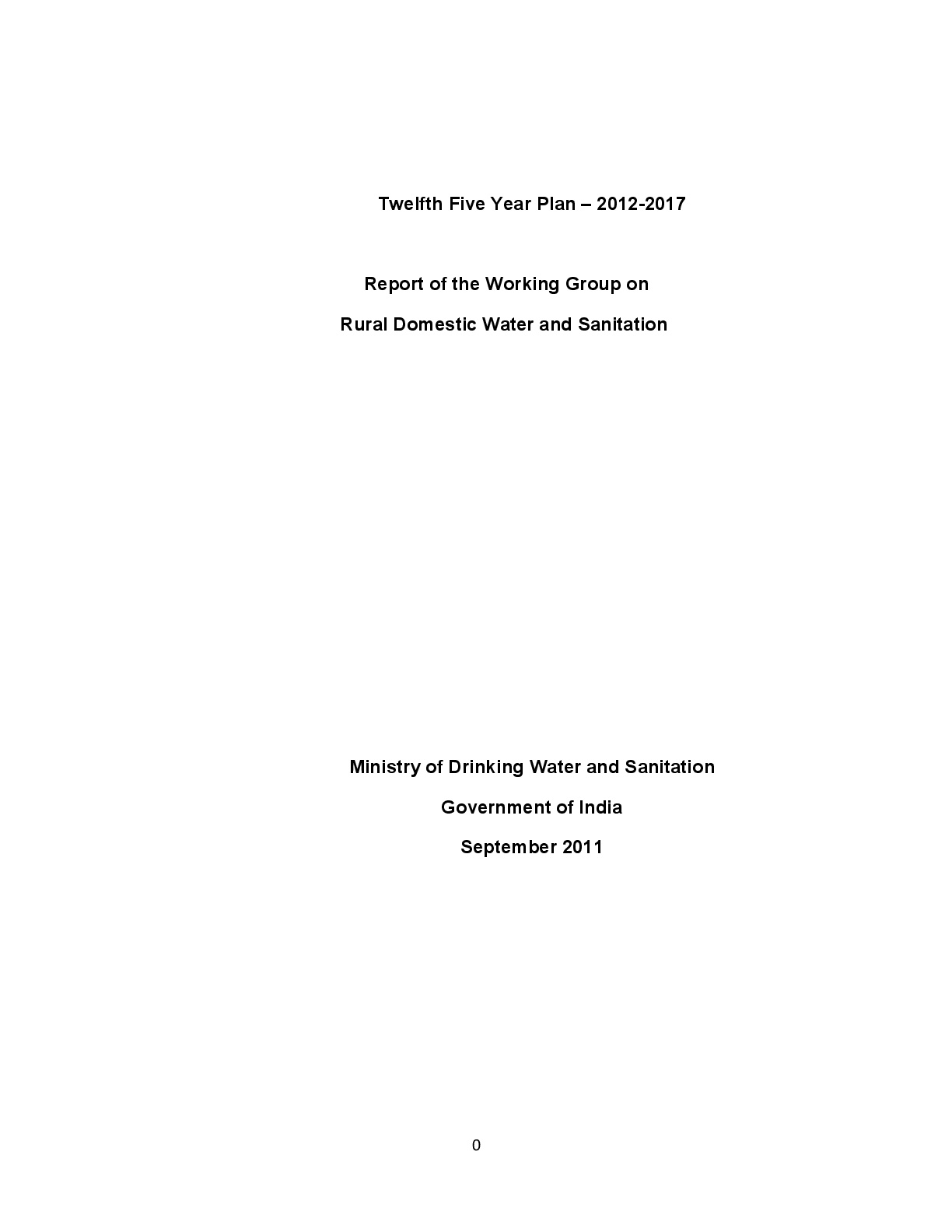 Report of the Working Group on Rural Domestic Water and Sanitation
